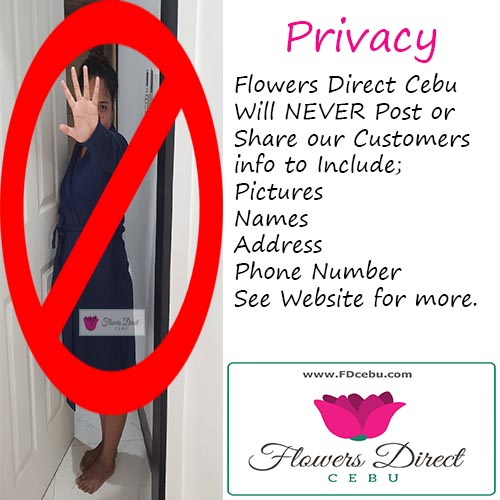 Privacy Policy Flowers Direct Cebu, woman holding up hand to block camera from taking picture.