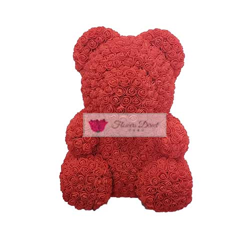 Rose Bear, Red Foam. This bear is 35cm/14 inches and made of foam.